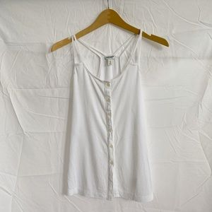 Old Navy White Button Up Racerback Tank Top